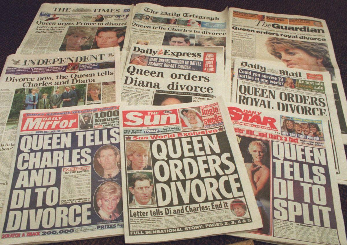 写真・図版 : 1995年12月21日、ロンドンの新聞トップページの見出し=AP