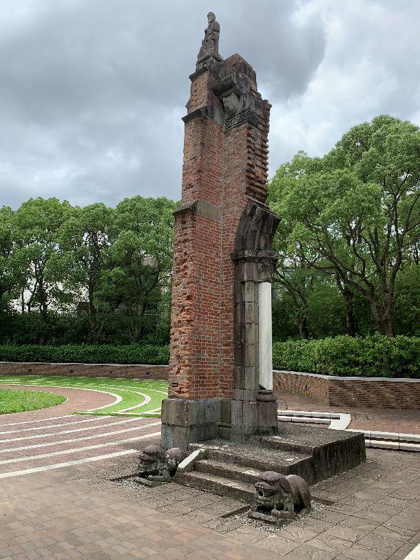 写真・図版 : 長崎の爆心地公園にある浦上天守堂遺壁=高橋浩祐撮影