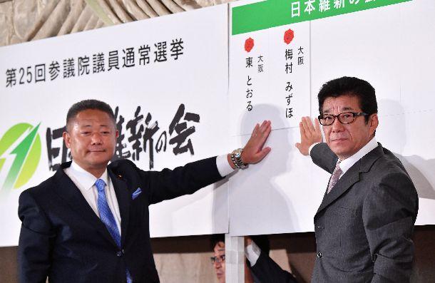 写真・図版 : 当選確実となった大阪選挙区候補者の名札を掲げる日本維新の会の松井一郎代表(右)=2019年7月21日、大阪市北区