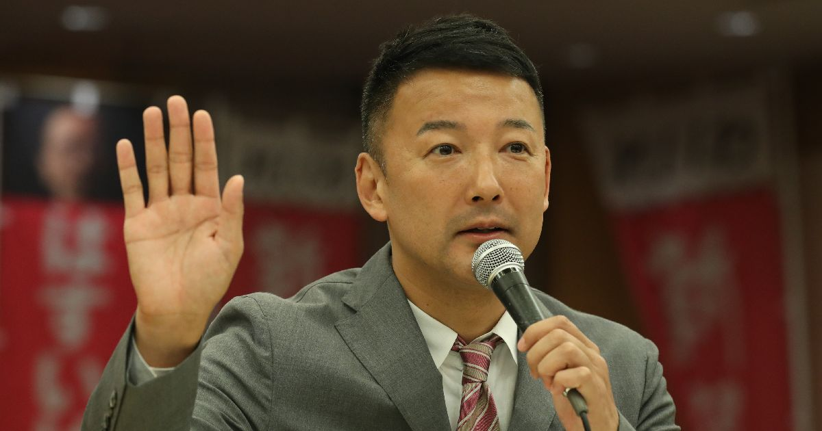 写真・図版 : 選挙後、記者会見する山本太郎代表=2019年7月22日、東京都千代田区