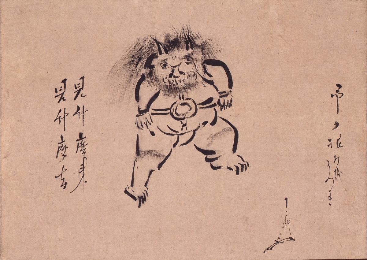 写真・図版 : 「知識人の素朴絵」の章に展示されている表千家七代、如心斎の「鬼図 1幅」(江戸時代・18世紀、三井記念美術館蔵)。茶の湯の宗匠が、自身が所有していた根付けを描いた作品だ