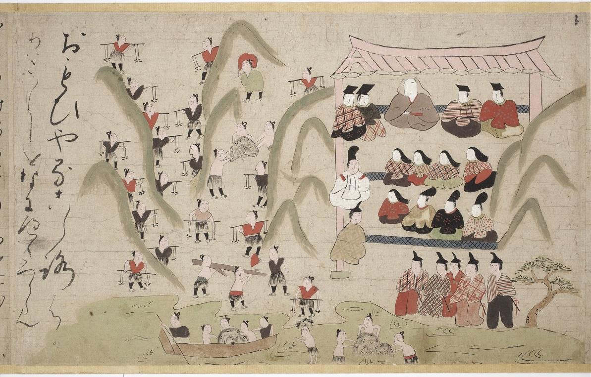 写真・図版 : 「つきしま絵巻 2巻」(室町時代・16世紀、日本民藝館蔵)。平清盛が海を埋め立てて島を造った時の説話を絵にしている