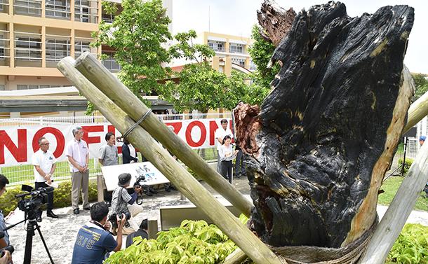 沖縄国際大学に米軍ヘリ墜落から15年