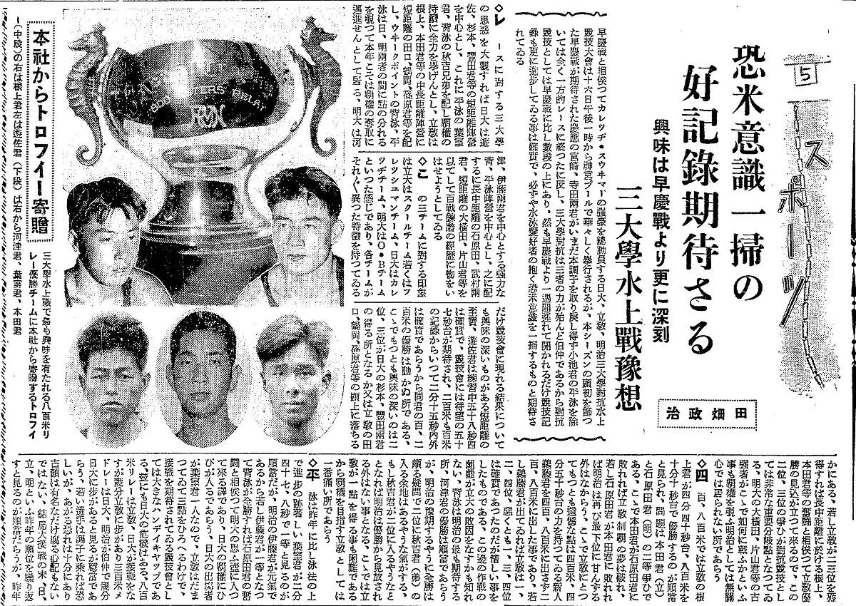 写真・図版 : 田畑政治の署名で朝日新聞スポーツ面に書いた記事(部分)=1935年6月