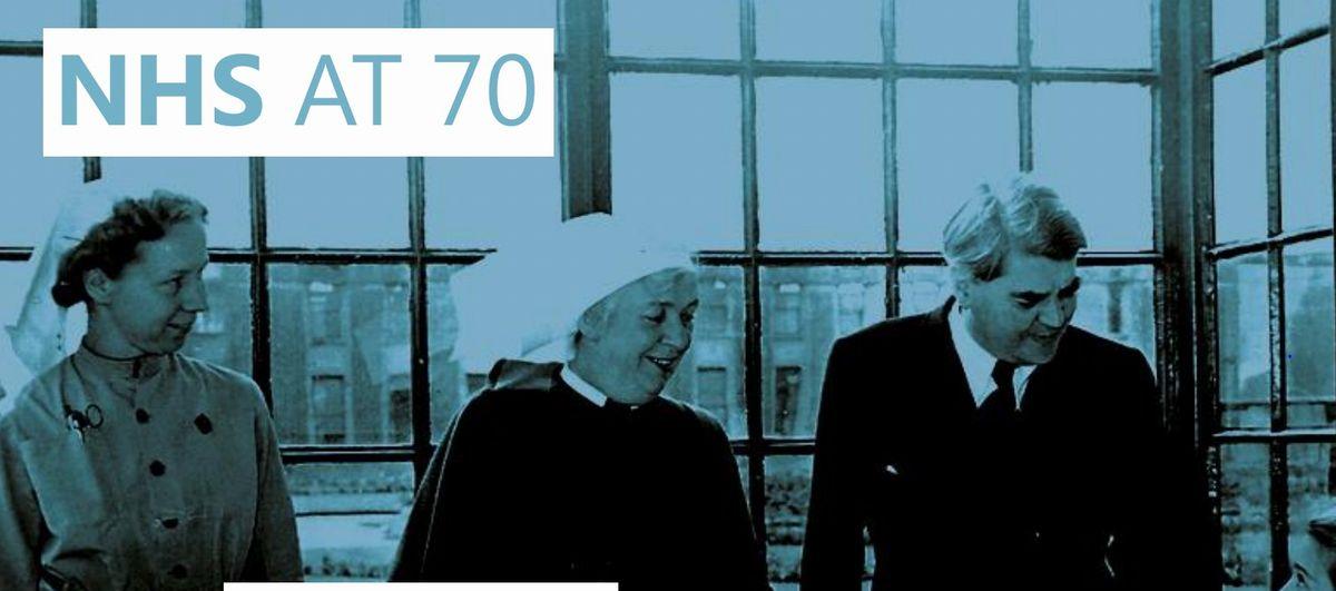 写真・図版 : NHSの70周年を記念したIpos MORI社のリーフレット。Ipsos MORI社はNHSの満足度調査など、世論調査を実施している企業。右端の男性が「NHSの父」と呼ばれるアナイリン・ベヴァン(出典:https://www.ipsos.com/sites/default/files/2018-07/1-nhs-at-70-founding-principles.pdf アクセス日 2019年9月23日)