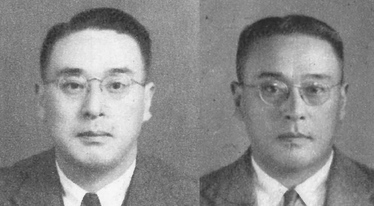 写真・図版 : 田畑政治。左は1939年(昭和14)、右は政治経済部長だった44年(昭和19)。いずれも朝日新聞社員写真帳から