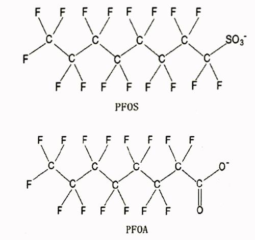 写真・図版 : PFOSとPFOAの構造式