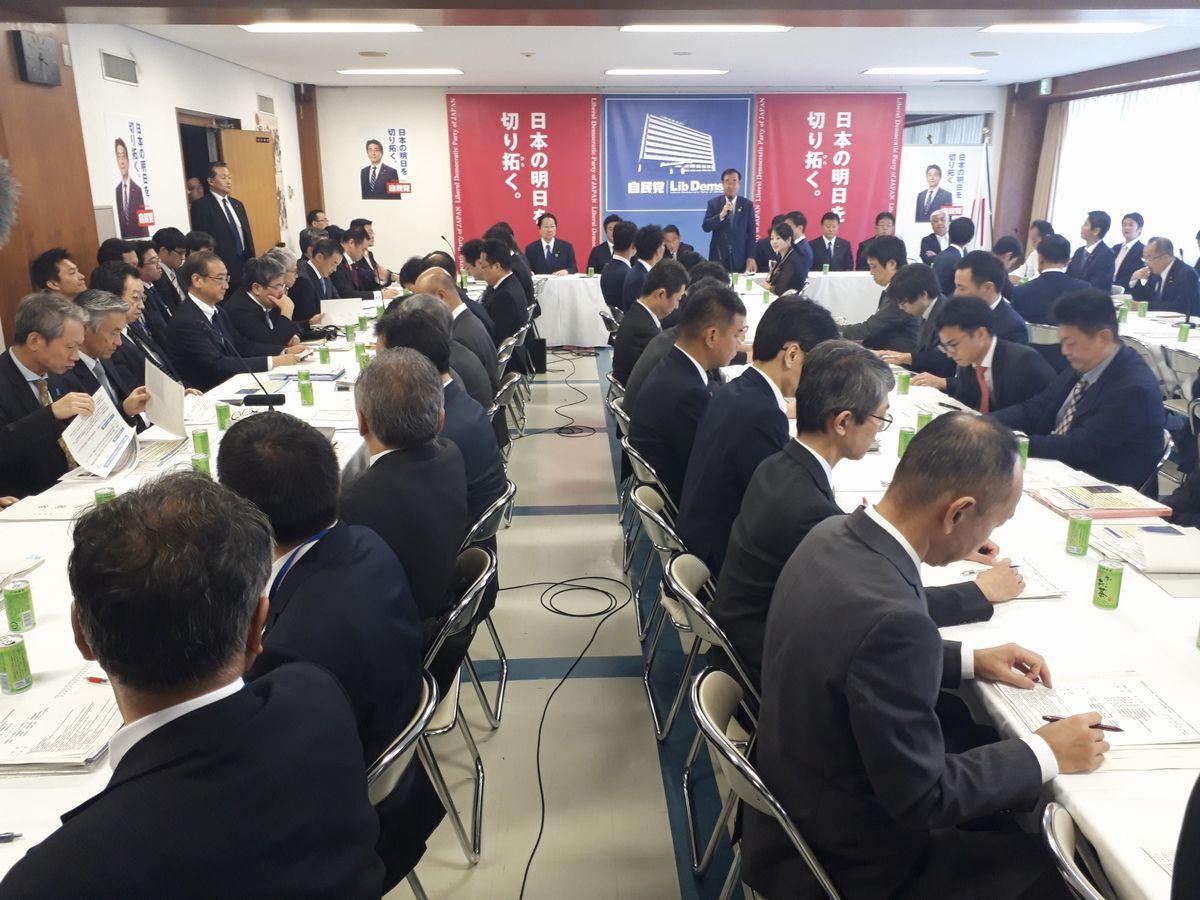 写真・図版 : 北朝鮮のミサイル発射を受け開かれた自民党の会議。外務省や防衛省が作った資料が配られ、国会議員らの質問に両省の幹部らが答えた=10月4日、東京・永田町の自民党本部。藤田撮影