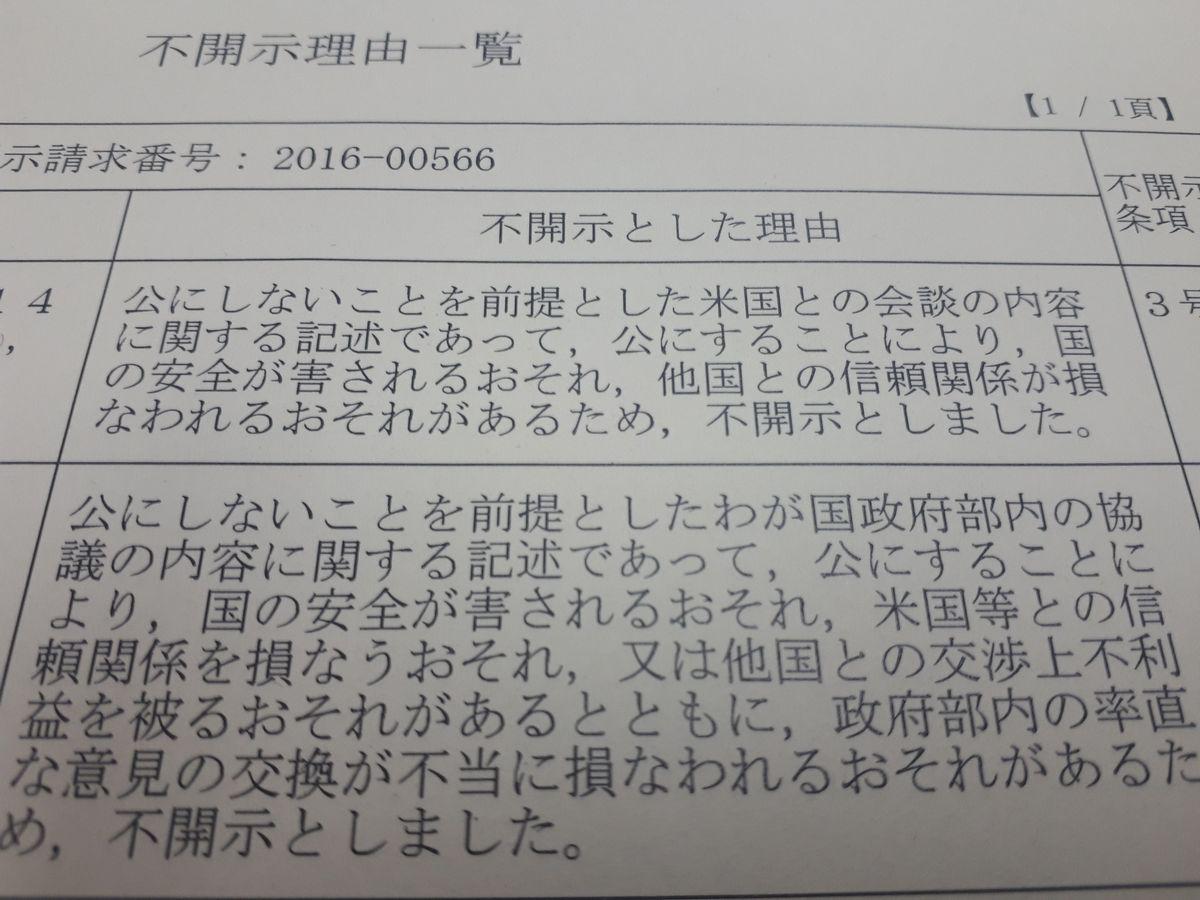 写真・図版 : 朝日新聞社が2017年に開示請求をした1968年の日米安保協議に関する文書について、外務省が一部を不開示とした理由を示す文書