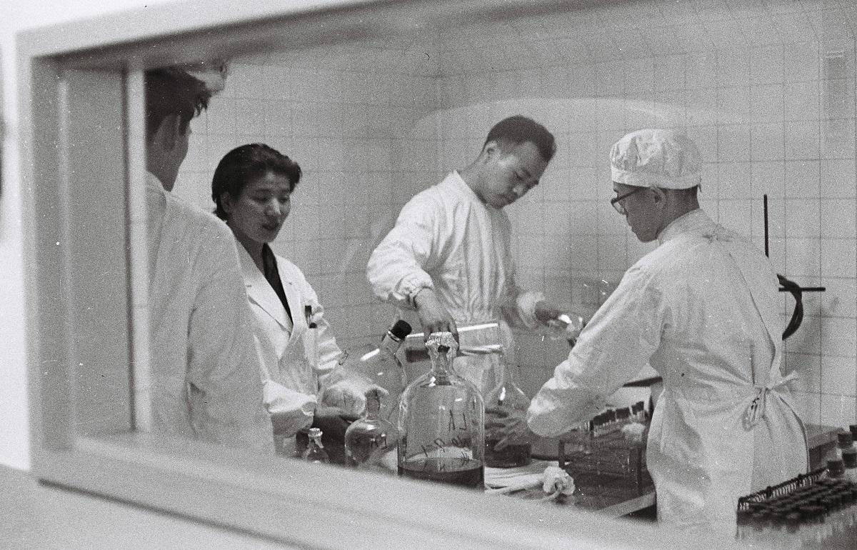 予防衛生研究所東京・品川区上大崎では細胞の培養、培養されたウイルスなど、すべて厳重に隔離され、滅菌された室の中で行われ、器物も使用のたびごとに慎重に消毒する1959年
