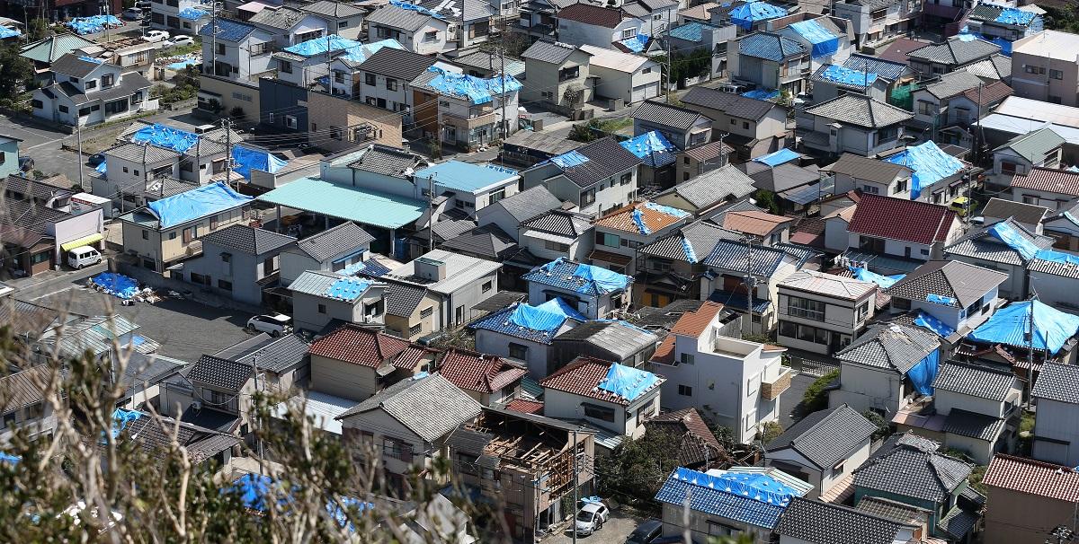 写真・図版 : 多くの住宅の屋根にブルーシートが張られている千葉県鋸南町勝山地区
