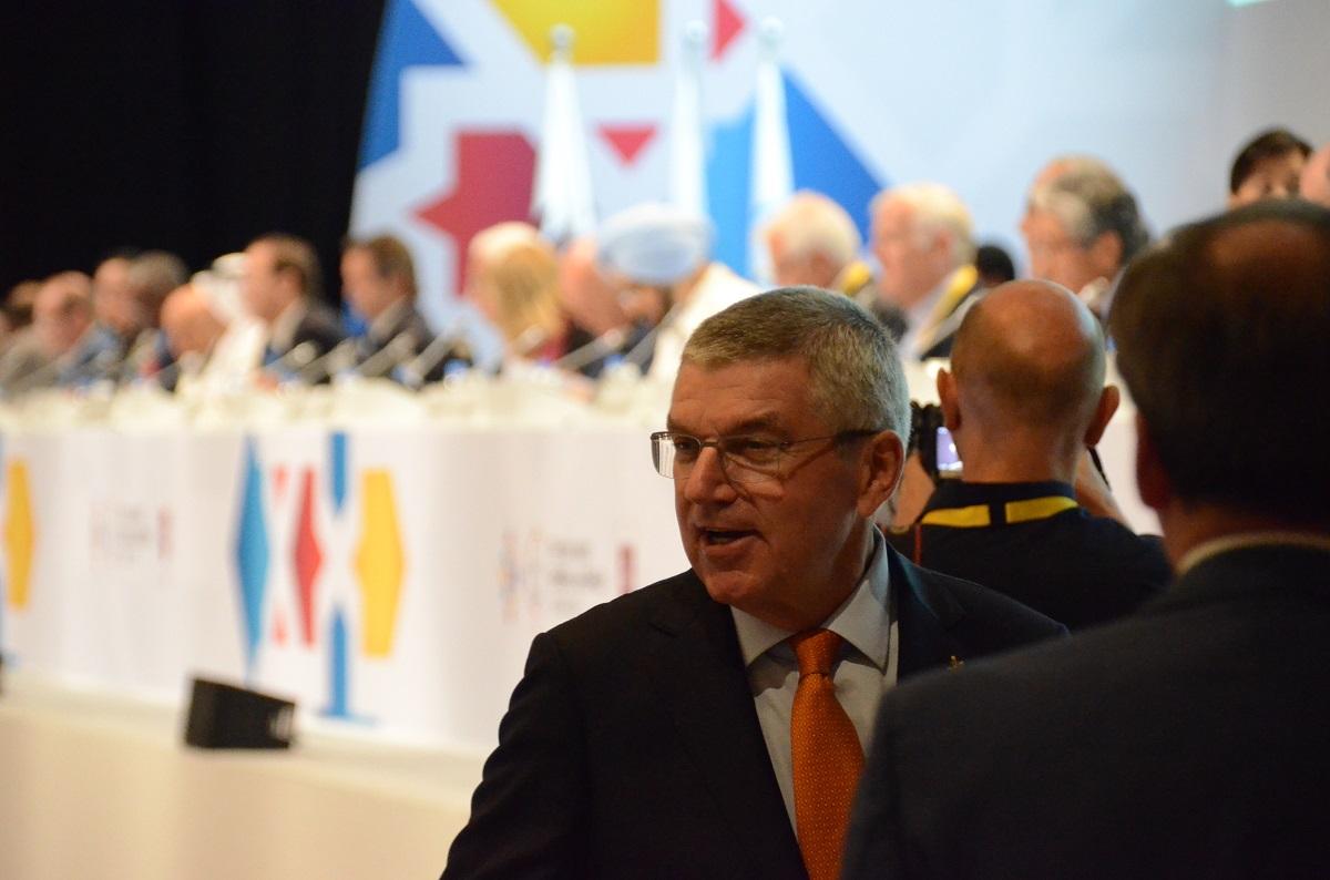 写真・図版 : IOCのバッハ会長=2019年10月17日、カタール・ドーハ
