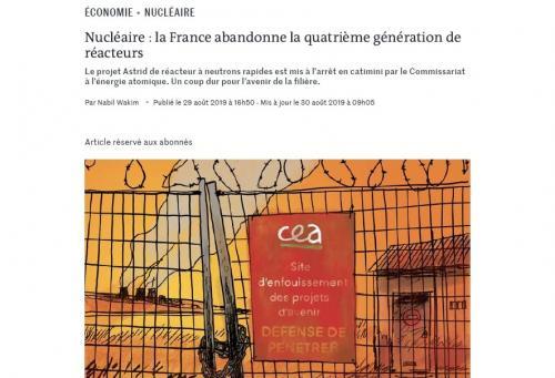 写真・図版 : アストリッド建設中止を報じたルモンド紙ウェブ版