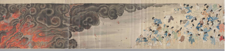 写真・図版 : 最も有名な絵巻の一つ「伴大納言絵詞(ばんだいなごんえことば)」(江戸期の写本、部分、国文学研究資料館蔵)。貞観8年(866)に起きた平安京大内裏の応天門炎上をめぐる、大納言・伴善男の陰謀を描く。右から左に絵巻を開いてゆくと、驚き騒ぐ人々の視線の先に燃え上がる炎が