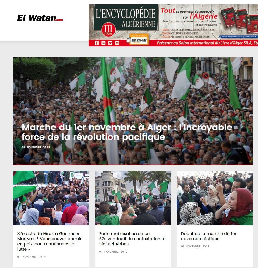 アルジェリアのフランス語紙エルワタンが伝える11月1日のデモ