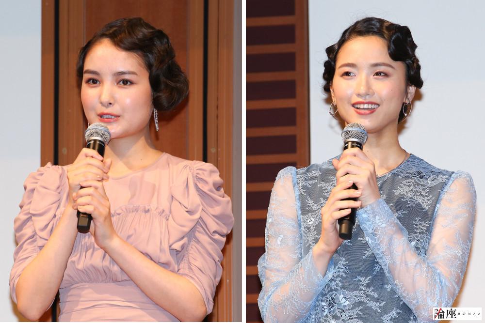 写真・図版 : ミュージカル『アナスタシア』制作発表会見から、葵わかな(左)と木下晴香=宮川舞子 撮影