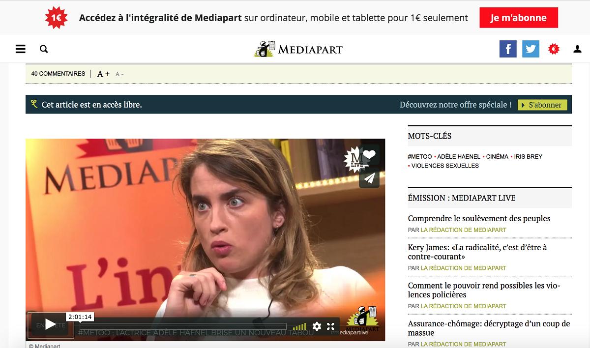 独立系有料ネット新聞「メディアパルト」で性暴力で告発したアデル・エネル=サイトから