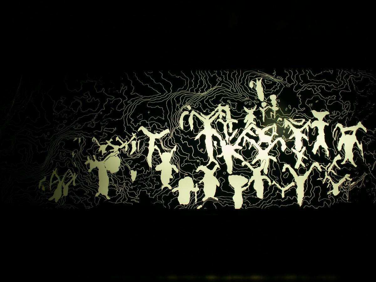 写真・図版 : 手宮洞窟の「古代文字」の模写図。実物は岩肌に刻まれている