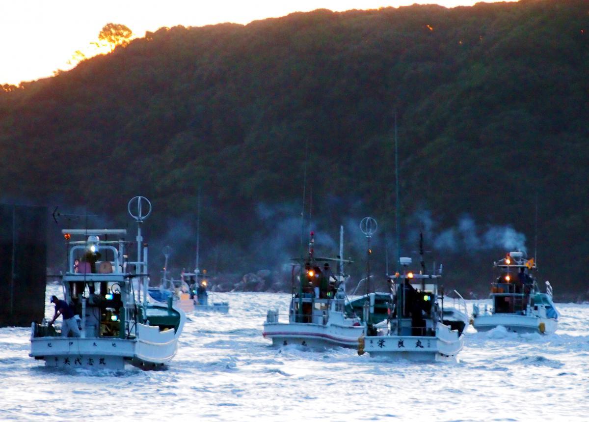 写真・図版 : 出漁する追い込み漁の船団=2017年9月、和歌山県太地町