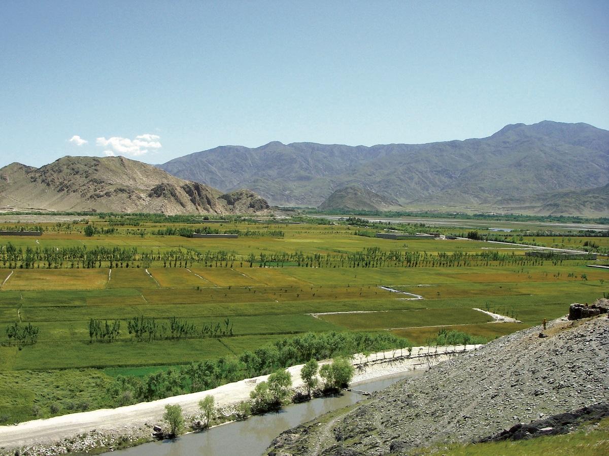 写真・図版 : 開通した水路周辺によみがえった緑=2009年4月、ペシャワール会提供