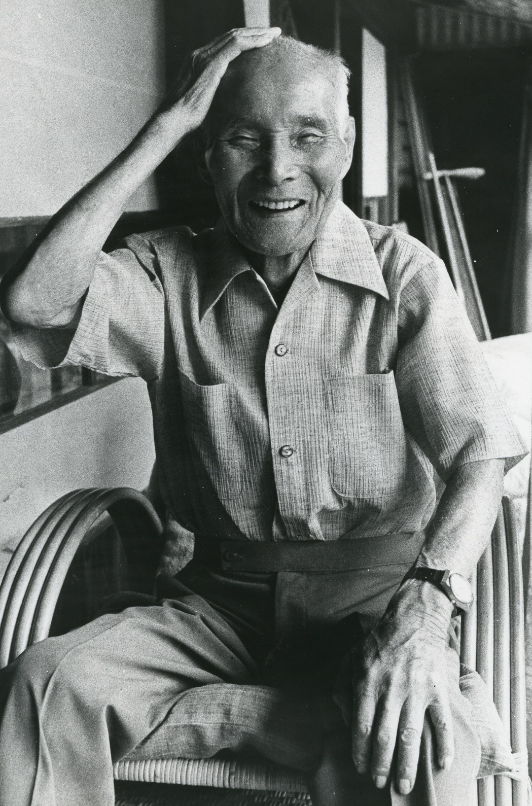 写真・図版 : 89歳になった金栗四三=1980年8月21日、熊本県玉名市の自宅