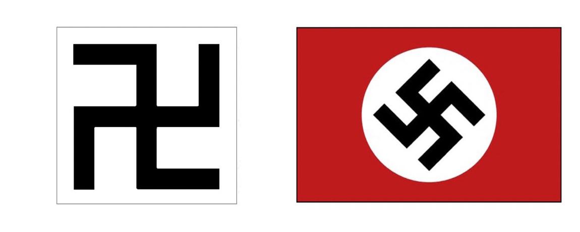 写真・図版 : 寺の地図記号(左)とナチスの象徴のハーケンクロイツ