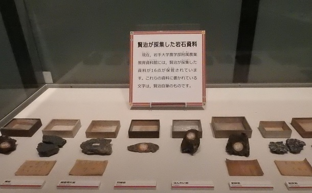 写真・図版 : 賢治が採集した岩石標本(これも含めて、クレジットのない写真は、茨城県自然博物館で筆者撮影)
