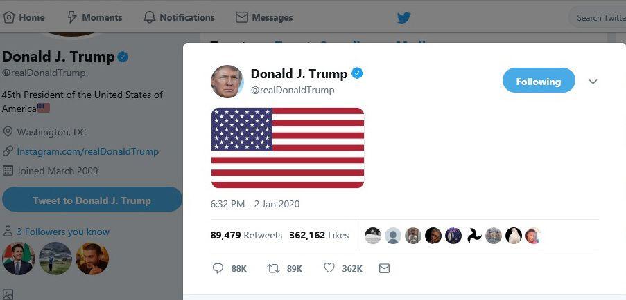 写真・図版 : イラン革命防衛隊のソレイマニ司令官の殺害に関し、トランプ米大統領はツイッターに星条旗の画像をアップした=トランプ氏のツイッターから