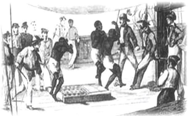 写真・図版 : ムチで打たれ、甲板で踊らされる奴隷たち=同博物館公式HPより