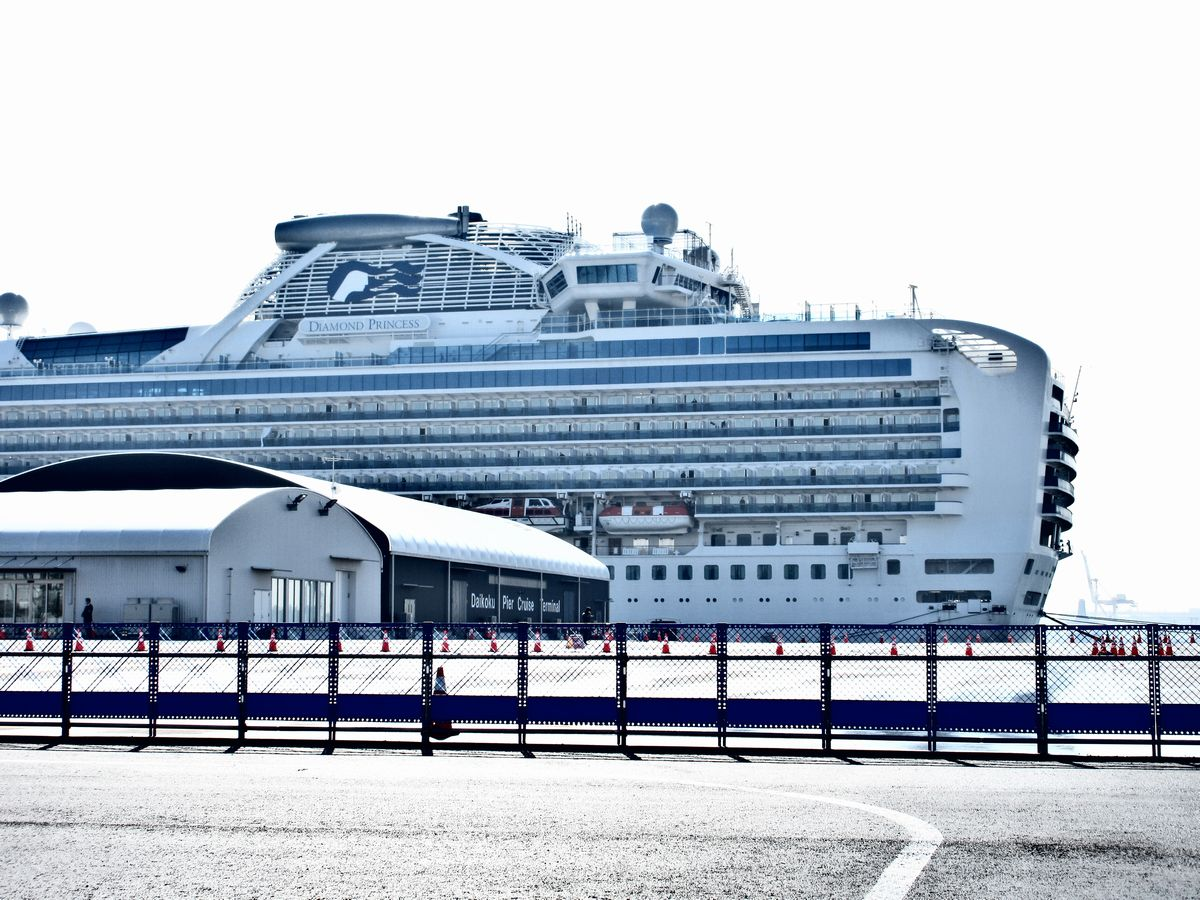 写真・図版 : 横浜港の大黒ふ頭に停泊するダイヤモンド・プリンセス号。この日も必要な物資の積み込みが頻繁に行われていた=2020年2月13日、岩崎撮影