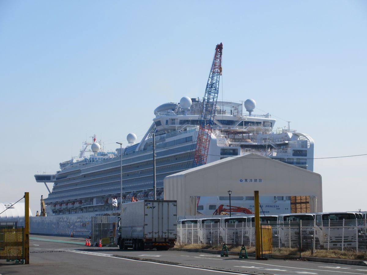 写真・図版 : 横浜港の大黒ふ頭に停泊するダイヤモンド・プリンセス号。入国していない状態のため、患者の統計でも区別されている=2020年2月13日、岩崎撮影