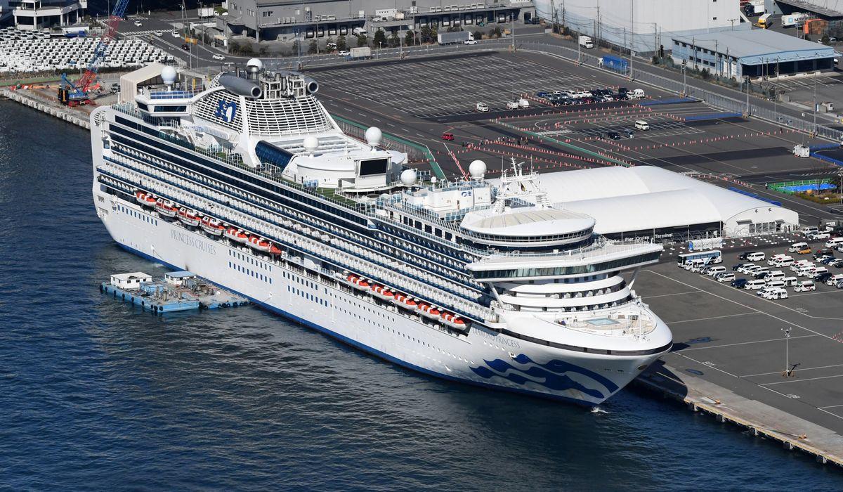 写真・図版 : 新型コロナウイルスの感染拡大が続くクルーズ船ダイヤモンド・プリンセス号=2020年2月18日、横浜港・大黒ふ頭、朝日新聞社ヘリから