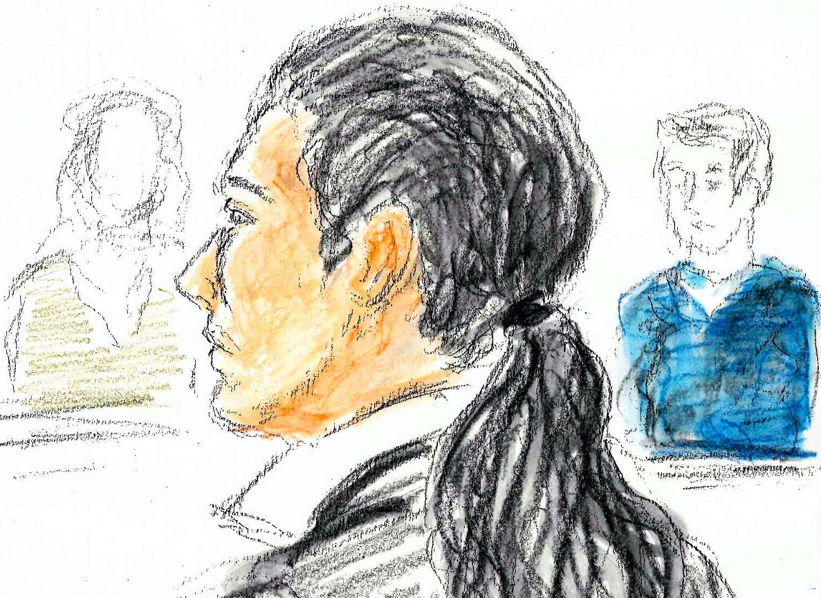 公判で被告人質問に答える植松聖被告=202001月24日、横浜地裁、絵と構成・小山真徳