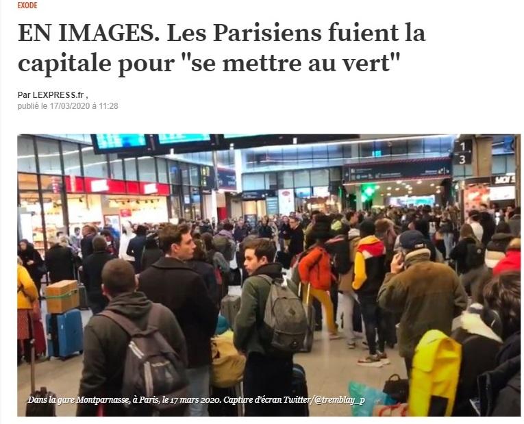 ブルターニュなどフランス西部への玄関口であるパリのモンパルナス駅には「移動組」が殺到しニュースとなった=雑誌「レクスプレス」のサイトより