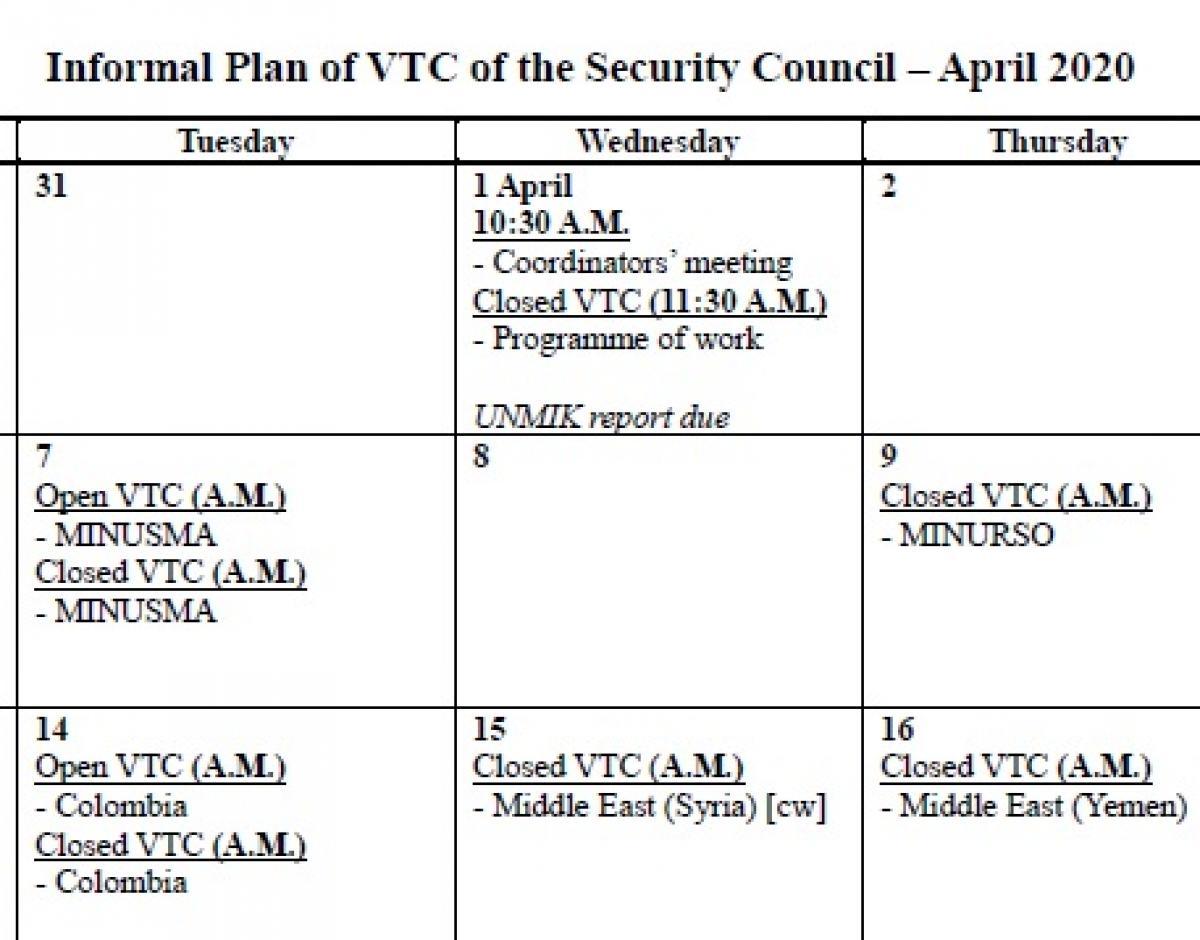 写真・図版 : 国連安保理のHPに掲載された4月の予定表。ビデオ会議を意味する