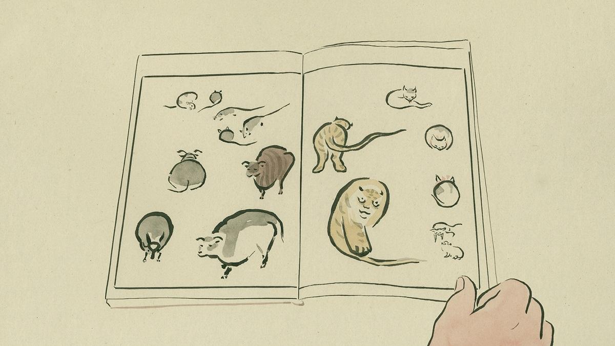 写真・図版 : 『ゆめみのえ』でケイサイが『鳥獣略画式』のページをめくる=© Yamamura Animation