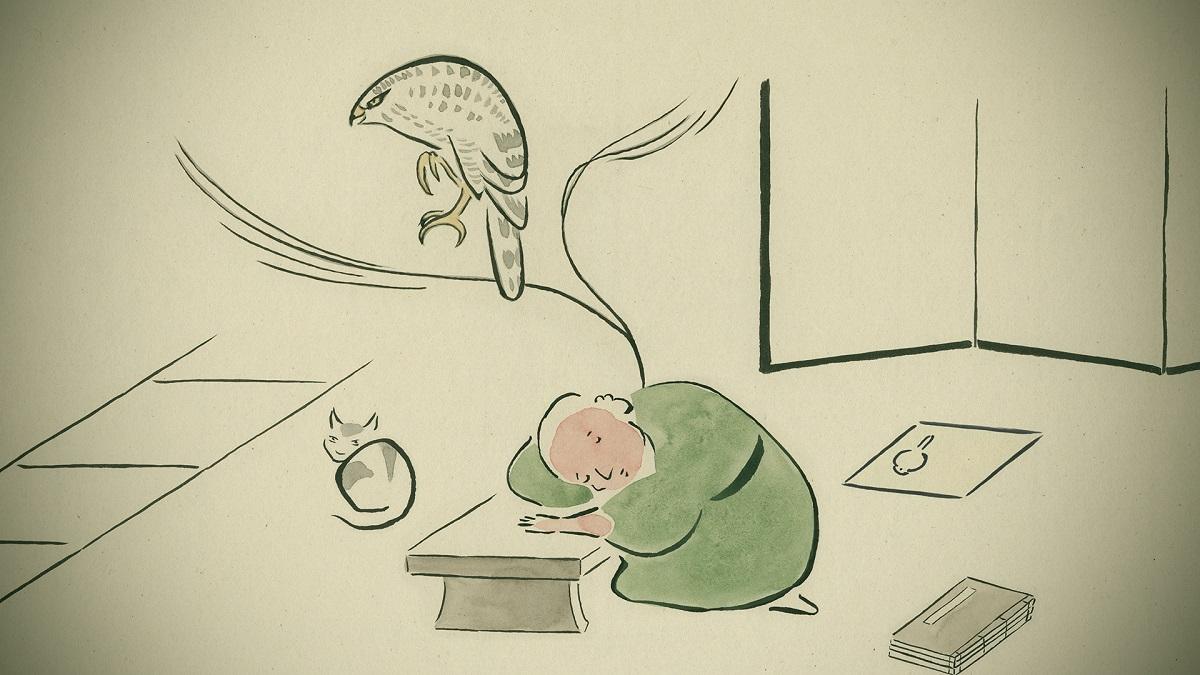 写真・図版 : 『ゆめみのえ』で鷹の夢を見るケイサイ=© Yamamura Animation