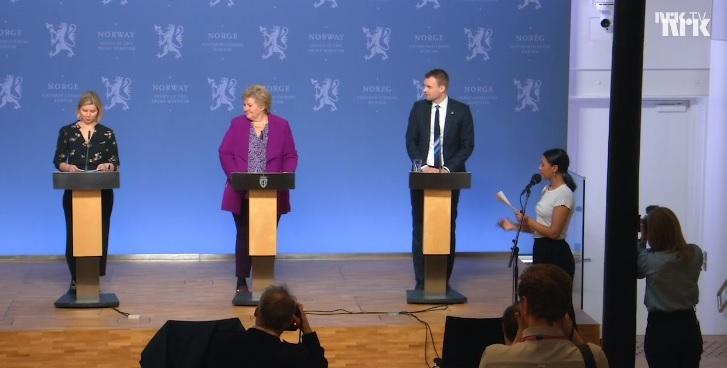 写真・図版 : ノルウェー政府が3月16日に開いた子ども記者会見=公共テレビ局の映像から