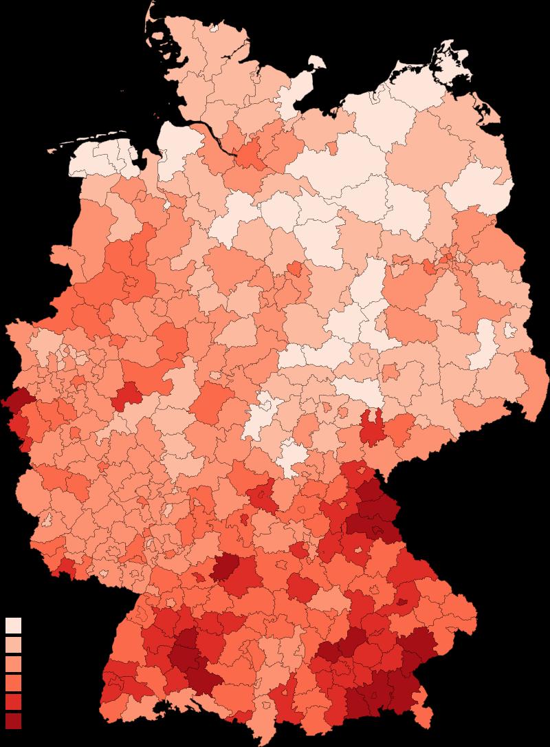 写真・図版 : ドイツの地域ごとの感染率=wikipedia