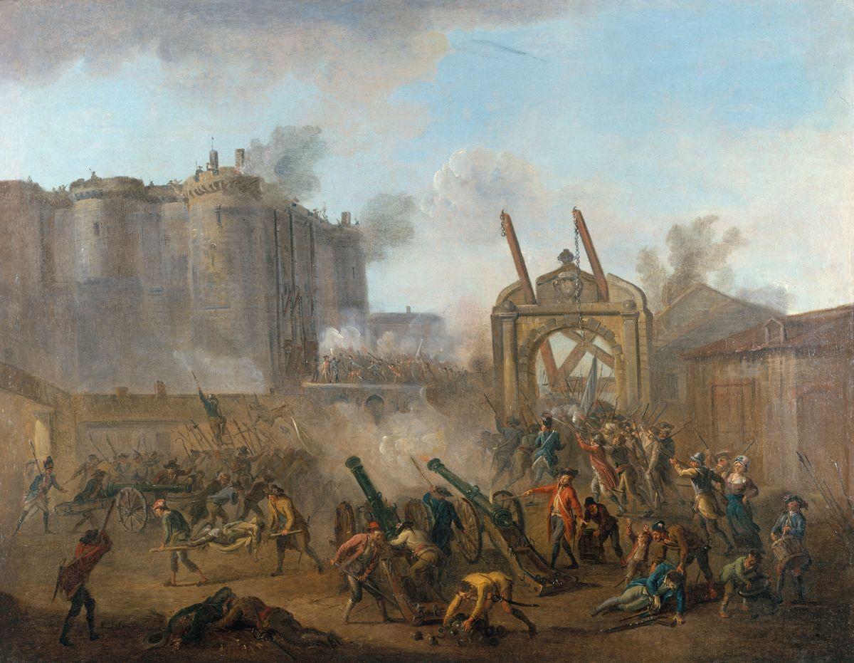 写真・図版 : フランス革命をラールマン・ジャン・バティストが描いた「バスティーユ襲撃、1789年7月14日」=カルナバレ・パリの歴史博物館蔵。パリ市提供