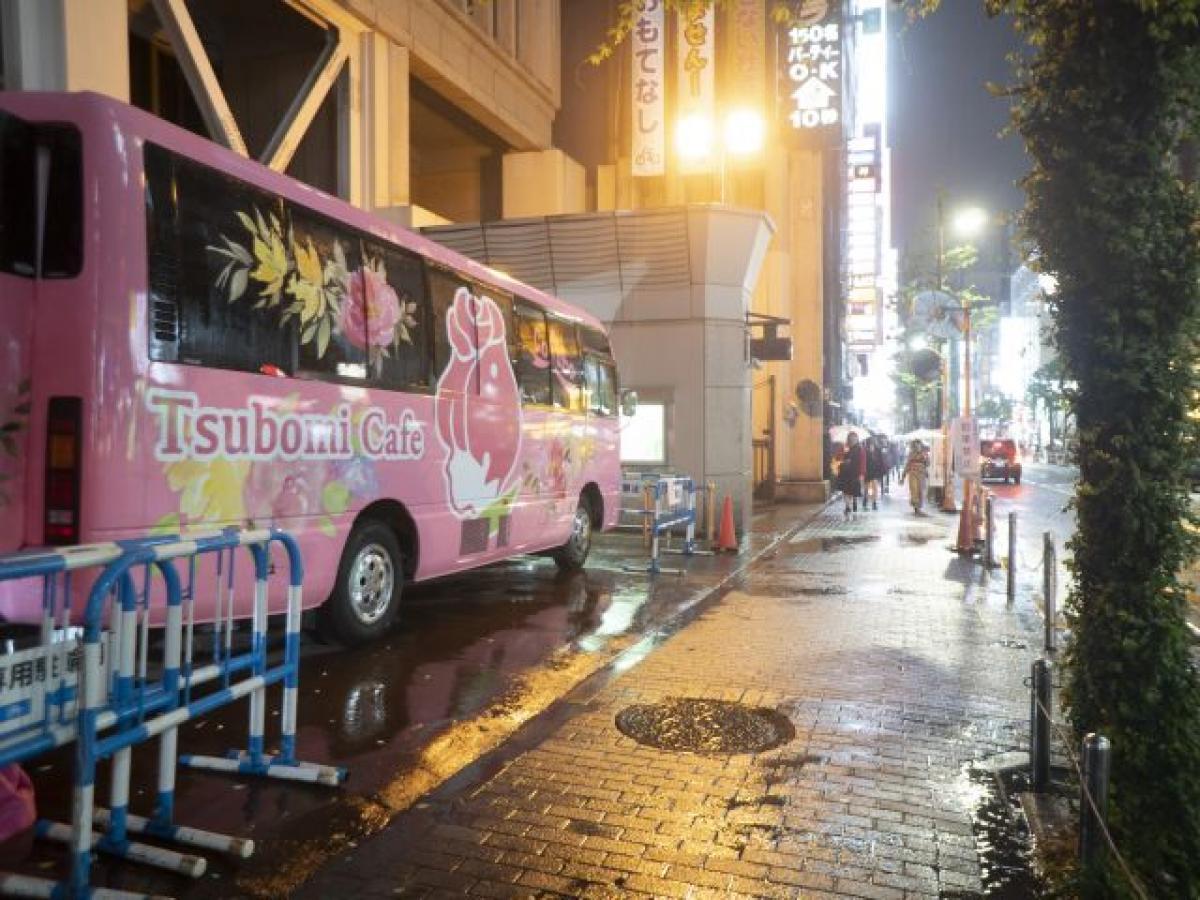 10代向けの無料カフェ「Tsubomi Café」の拠点になっているバス。Colaboのホームページから