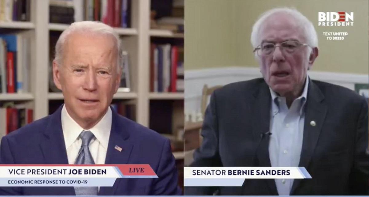 ジョー・バイデン前副大統領(左)への支持を表明したバーニー・サンダース上院議員=バイデン氏の動画中継から.