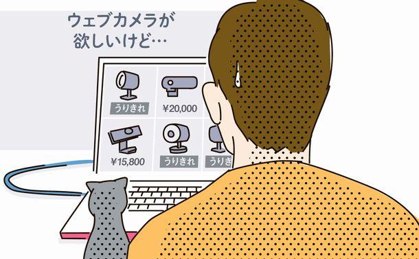 写真・図版 : テレワークの急増で、パソコンに接続する「ウェブカメラ」の品薄が続いている。どうしたらよいのだろう(イラスト・米澤章憲)