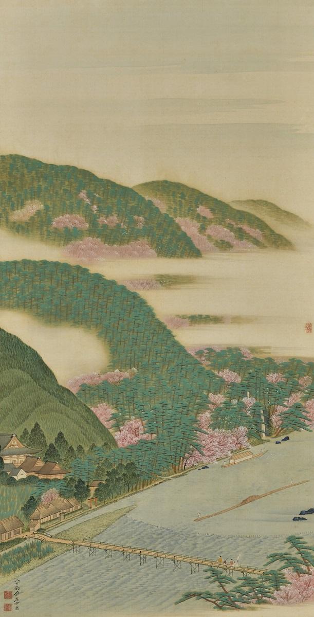 写真・図版 : 原在中『山州嵐山真景図』(1829年、109.0×55.5センチ、敦賀市立博物館蔵)