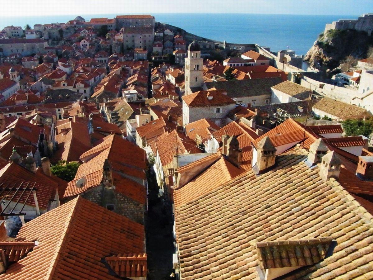 写真・図版 : 城壁からはアドリア海に向かって旧市街が一望できる。オレンジ色の瓦屋根が美しい(筆者撮影)