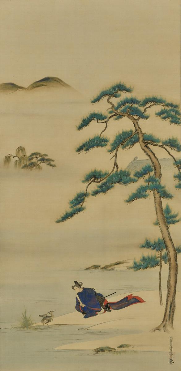 写真・図版 : 冷泉為恭『五位鷺図』(19世紀後半、102.3×59.9センチ、敦賀市立博物館蔵)