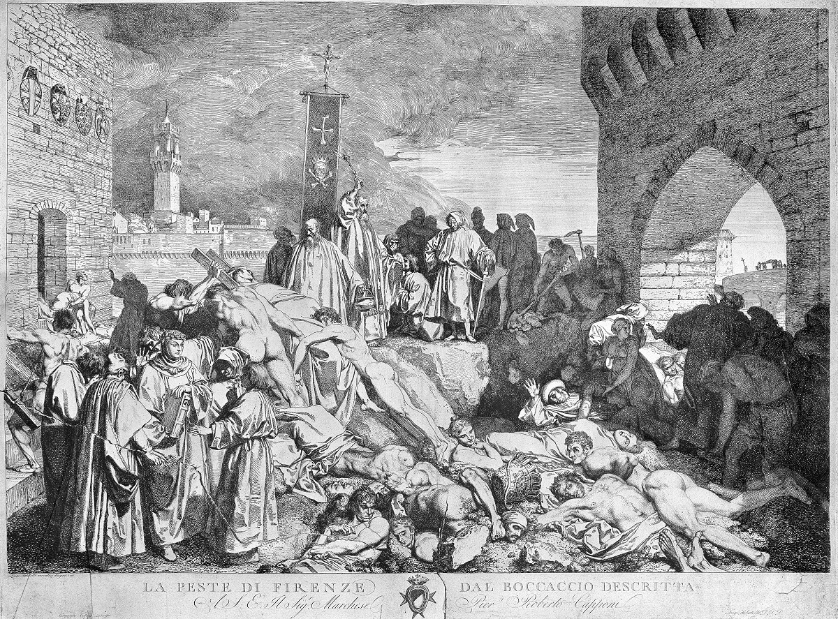 1348年、イタリア・フィレンツェで流行したペストの様子。ボッカッチョ『デカメロン』の挿絵=英ウェルカム・コレクションから