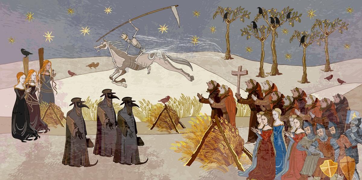 中世のペスト禍を描いた絵画=matrioshka・Shutterstock.com