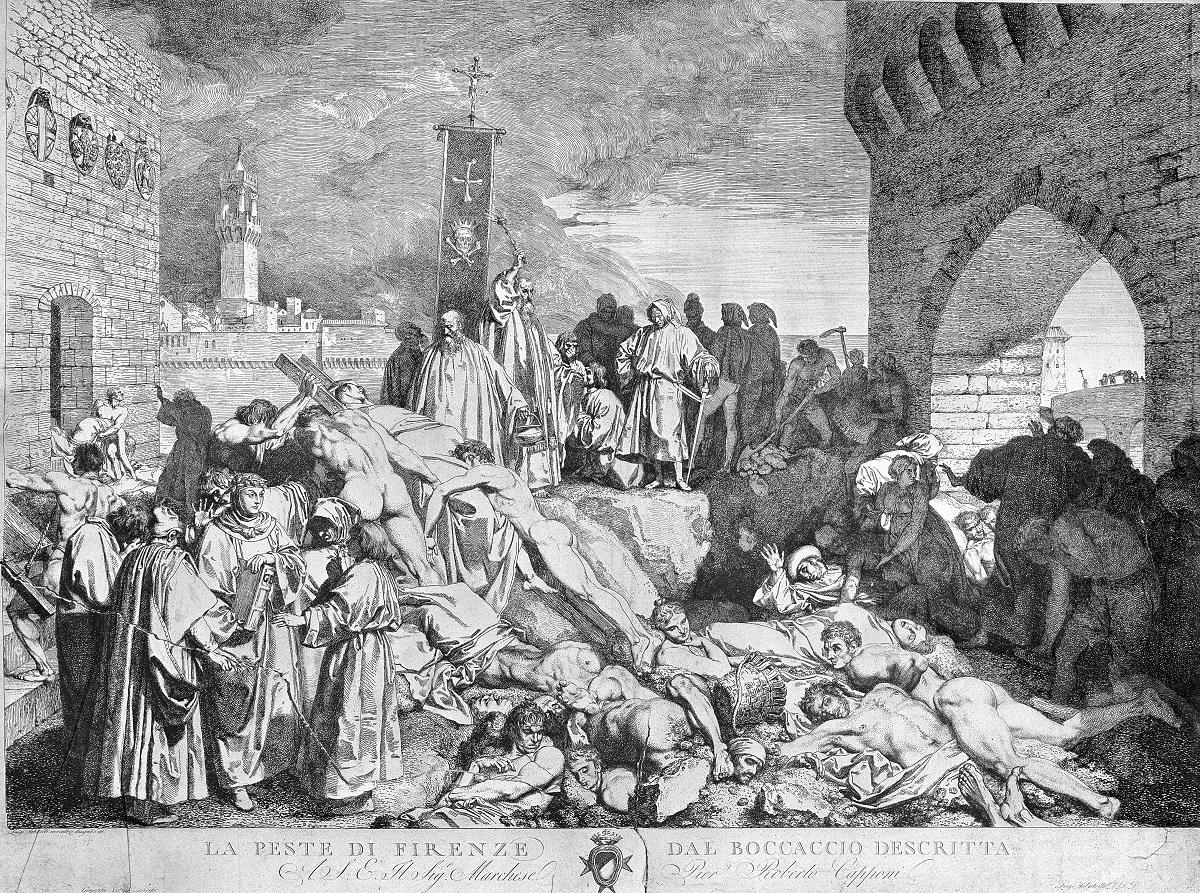 写真・図版 : 1348年のイタリア・フィレンツェで流行したペスト禍の様子。ボッカッチョ『デカメロン』」の挿絵=英ウェルカム・コレクションから