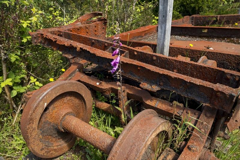 写真・図版 : チロエ島の奥地に放置され、さびついた電車の部品=筆者撮影